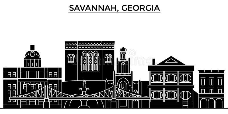 Gli S.U.A., savana, orizzonte della città di vettore di architettura di Georgia illustrazione vettoriale