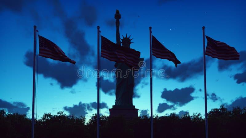 Gli sbattimenti delle bandiere americane nel vento su un'alba contro il cielo blu e la statua della libertà rappresentazione 3d immagine stock libera da diritti