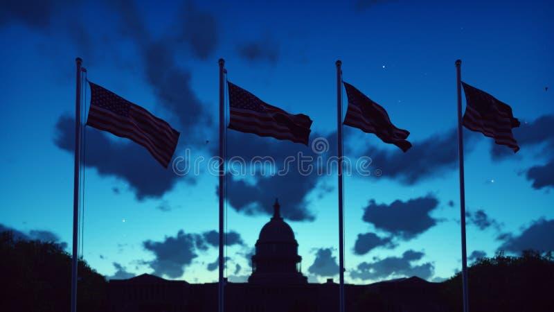 Gli sbattimenti delle bandiere americane nel vento su un'alba contro il cielo blu ed il Campidoglio rappresentazione 3d fotografia stock