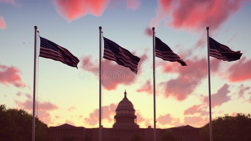Gli sbattimenti delle bandiere americane nel vento su un tramonto contro il cielo blu ed il Campidoglio rappresentazione 3d immagini stock libere da diritti