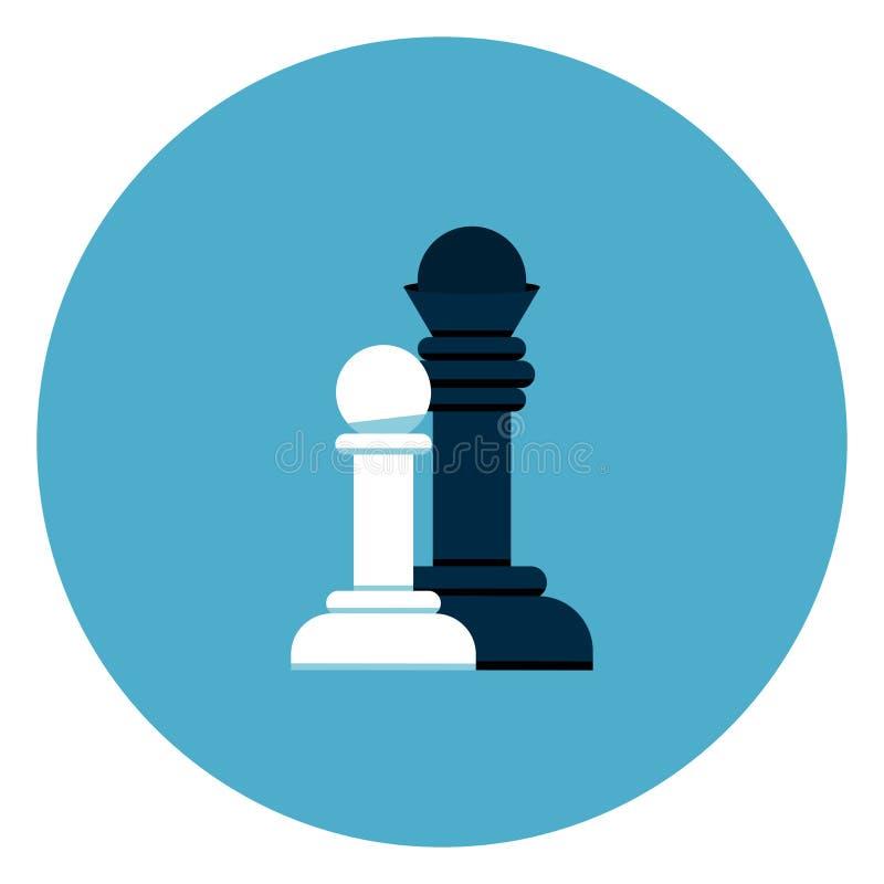 Gli scacchi in bianco e nero calcolano l'icona su fondo rotondo blu royalty illustrazione gratis
