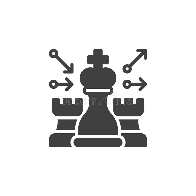 Gli scacchi, vettore dell'icona di strategia, hanno riempito il segno piano, pittogramma solido isolato su bianco illustrazione di stock