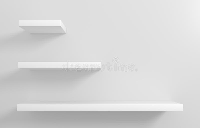 Gli scaffali bianchi per le merci montrano illustrazione vettoriale