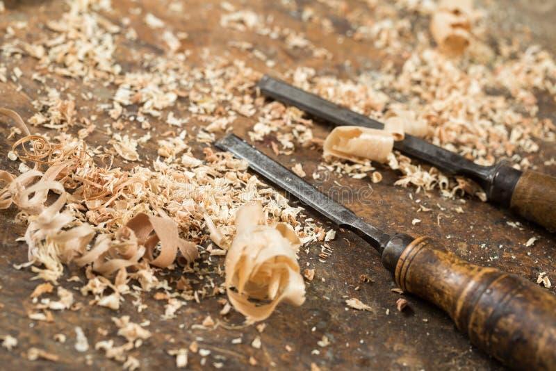 Gli scalpelli dell'oggetto d'antiquariato immagine stock