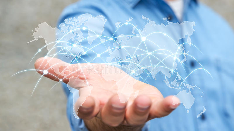 Gli scambi '3D della rete globale e di dati della tenuta dell'uomo d'affari si strappano royalty illustrazione gratis