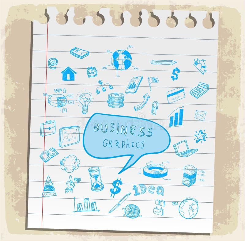 Gli scarabocchi di affari hanno messo l'illustrazione, icona di vettore illustrazione di stock