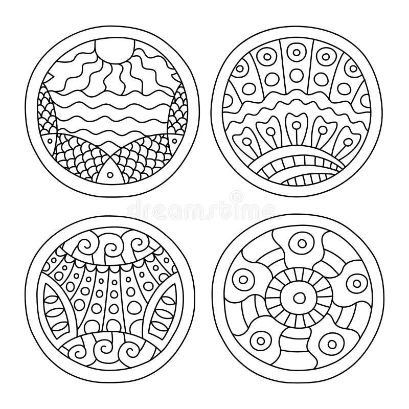 Gli scarabocchi hanno riempito i cerchi messi royalty illustrazione gratis
