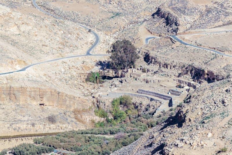 Gli scavi archeologici sono fatti vicino alla chiesa commemorativa di Mosè sul supporto Nebo vicino alla città di Madaba in Giord fotografie stock libere da diritti