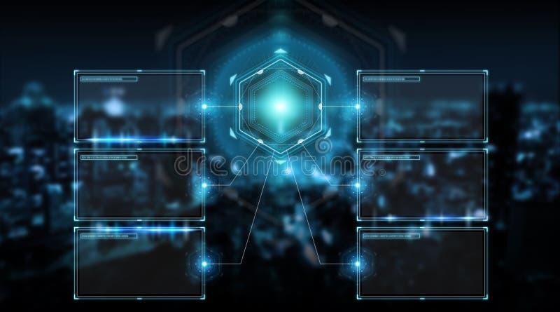 Gli schermi di Digital collegano mediante interfaccia alla rappresentazione di dati 3D degli ologrammi illustrazione vettoriale