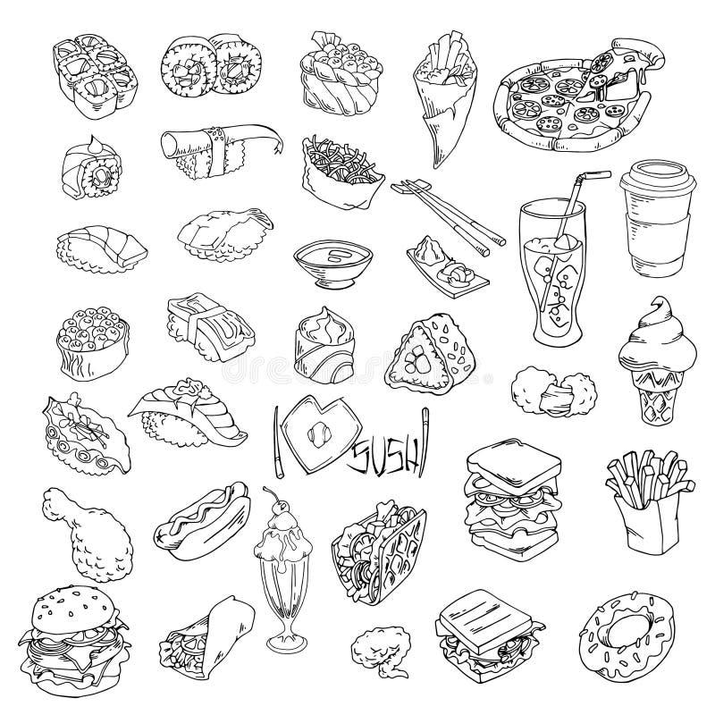Gli schizzi stabiliti della mano scarabocchiano gli alimenti a rapida preparazione dell'alimento ed i sushi, insieme di vettore p illustrazione di stock