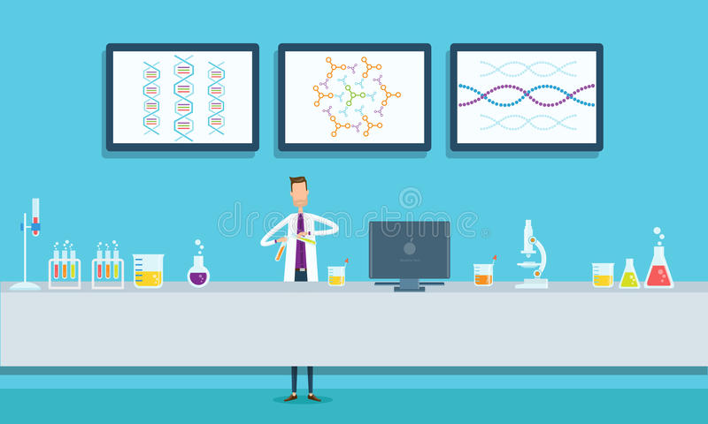 Gli scienziati ricercano nel concetto del laboratorio del laboratorio illustrazione vettoriale