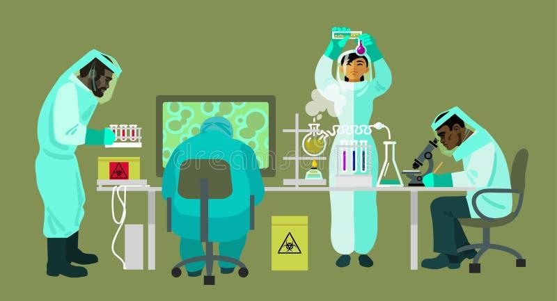 Gli scienziati in vestiti protettivi stanno lavorando con le bio- sostanze pericolose I virologi stanno effettuando la ricerca in royalty illustrazione gratis