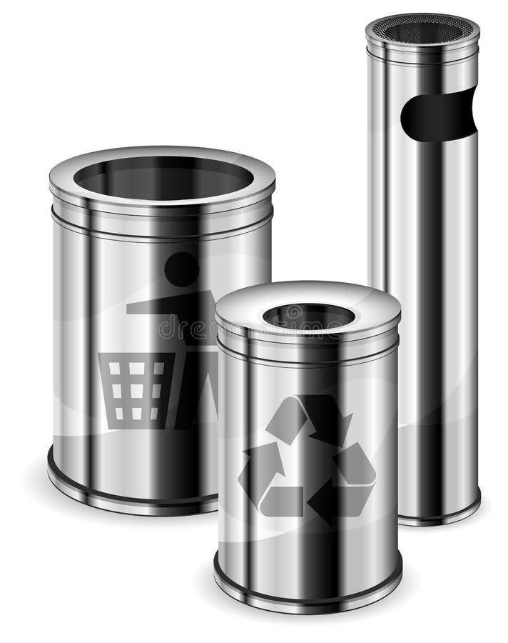 Gli scomparti di rifiuti & riciclano i segni royalty illustrazione gratis
