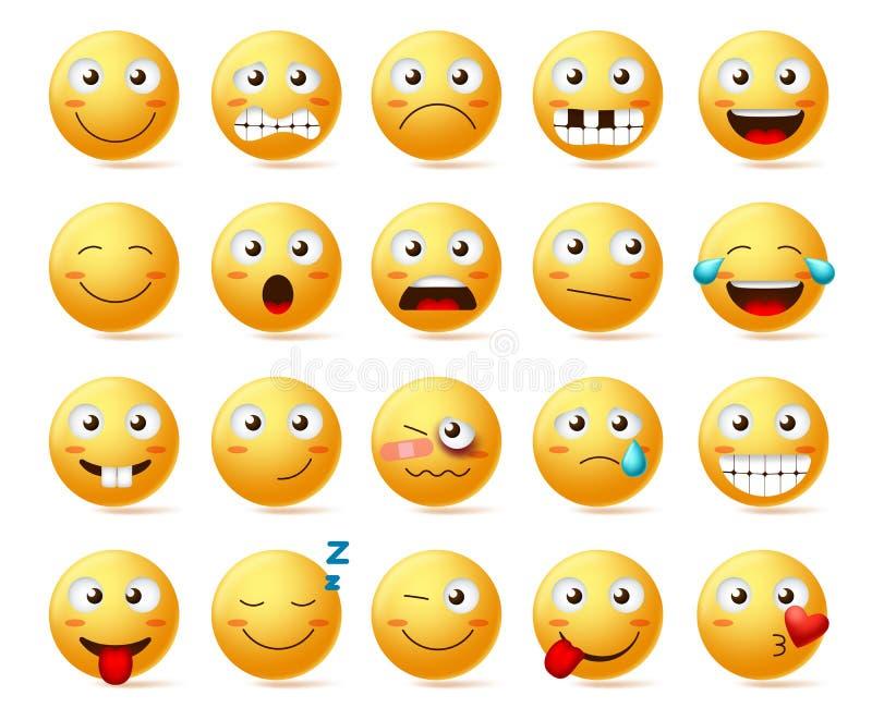 Gli smiley vector l'insieme Fronte sorridente o emoticon gialli con le varie espressioni facciali ed emozioni illustrazione vettoriale