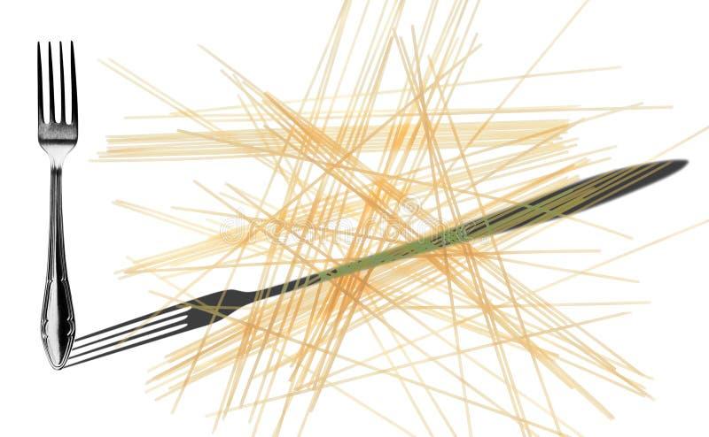 Gli spaghetti e la forcella e l'ombra hanno invertito, isolato su un bianco fotografie stock libere da diritti