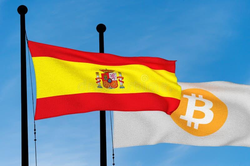 Gli Spagnoli diminuiscono e bandiera di Bitcoin immagini stock