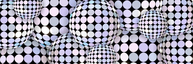 Gli sphers brillanti sottraggono il fondo 3d Bandiera creativa Modello delle luci dello specchio illustrazione di stock