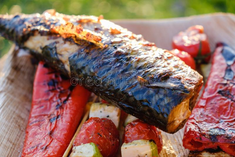 Gli spiedi di verdure arrostiti ed il pesce dello sgombro in una marinata dell'erba su un piatto, la cipolla, pomodoro dello zucc immagine stock libera da diritti