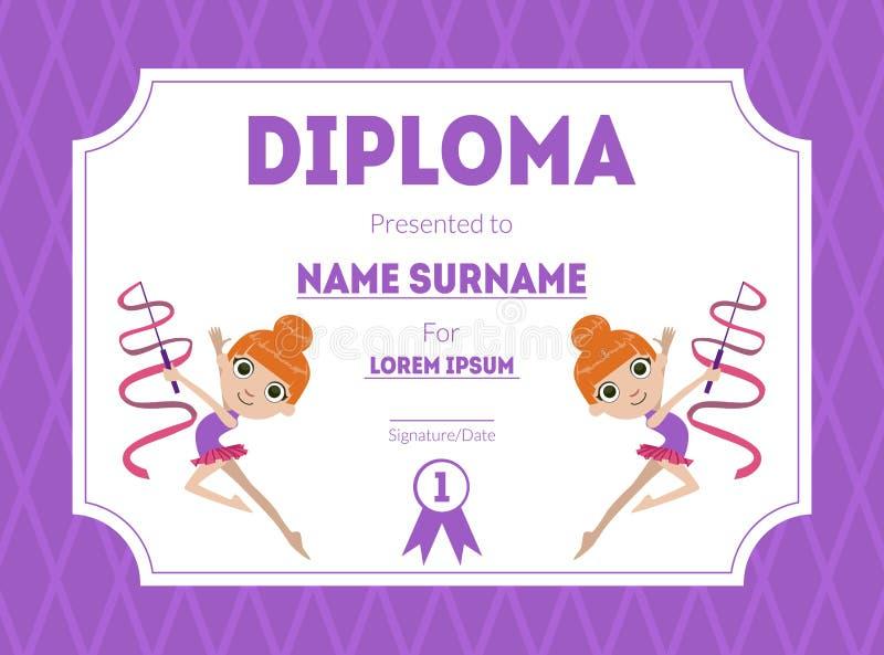 Gli sport assegnano il modello del diploma, i bambini certificano con la ragazza della ginnasta per l'illustrazione di vettore de royalty illustrazione gratis