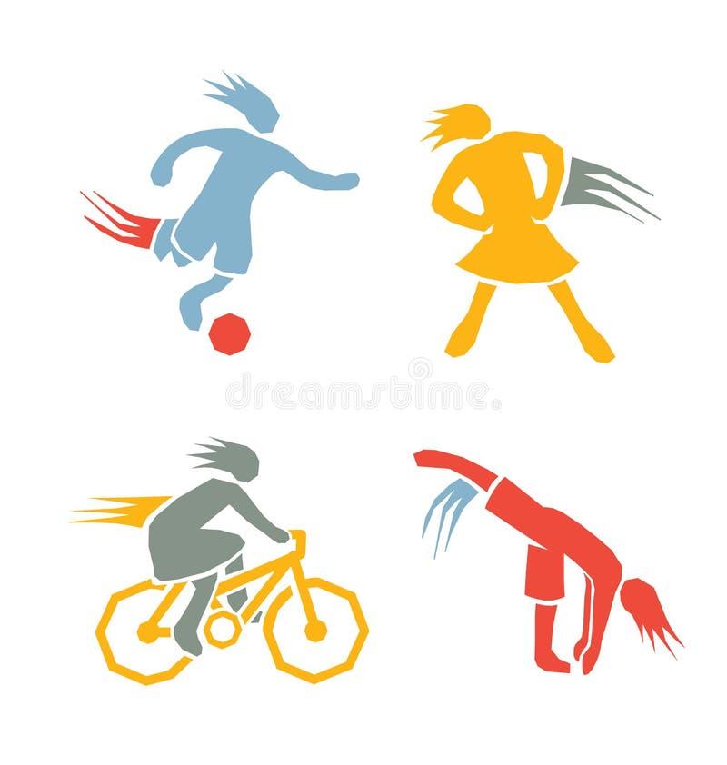 Gli sport attivi di forma fisica delle ragazze hanno messo 2 illustrazione vettoriale