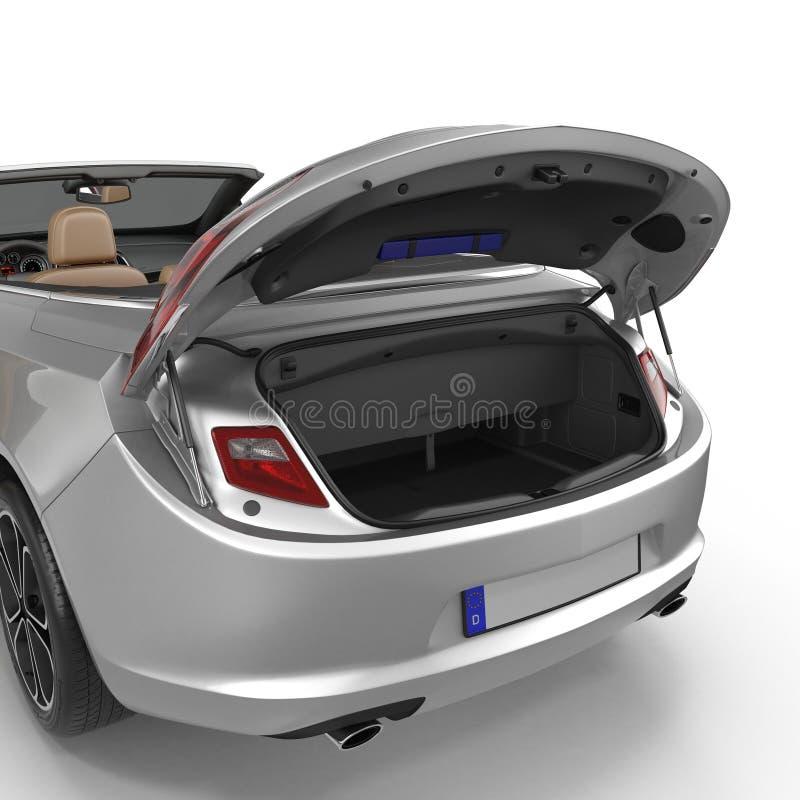 Gli sport convertibili puliscono il tronco vuoto isolato su un bianco illustrazione 3D royalty illustrazione gratis