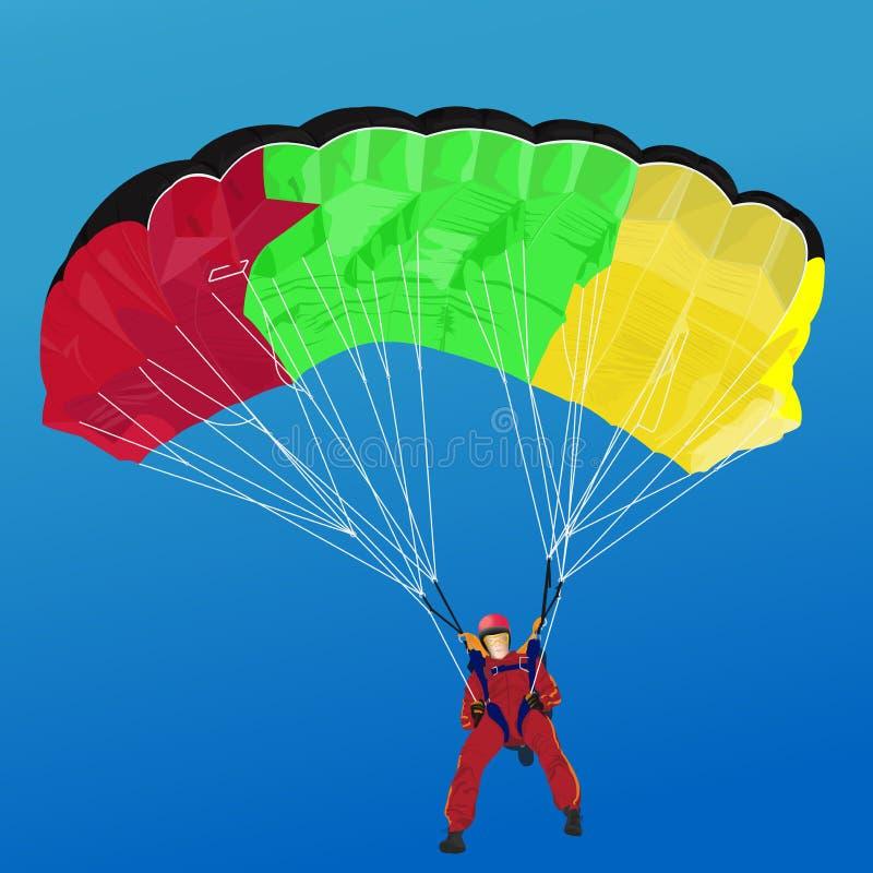 Gli sport estremi, paracadutista sale su nel cielo blu illustrazione di stock