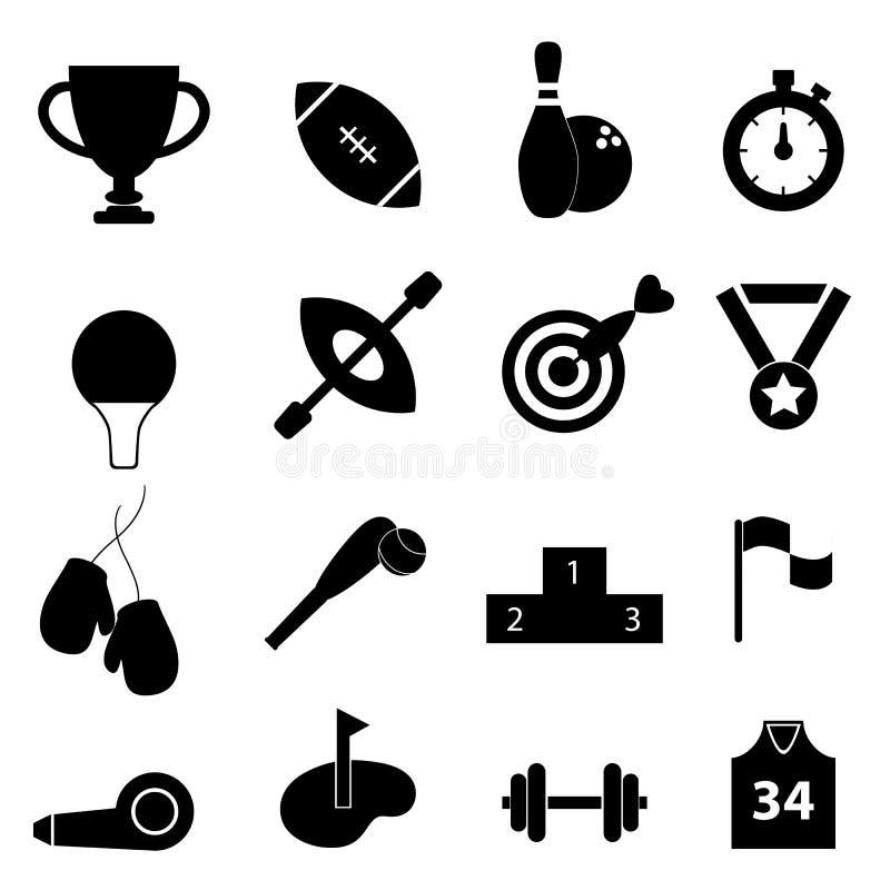 Gli sport hanno collegato l'insieme dell'icona illustrazione di stock