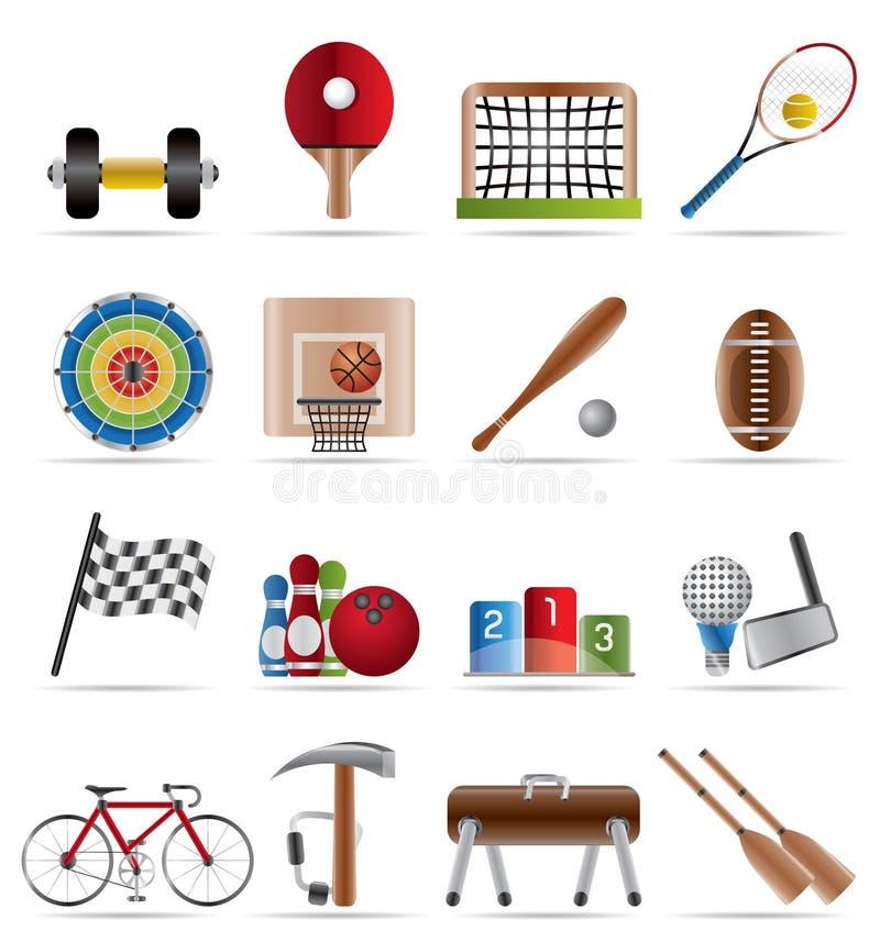 Gli sport innestano e strumenti illustrazione vettoriale