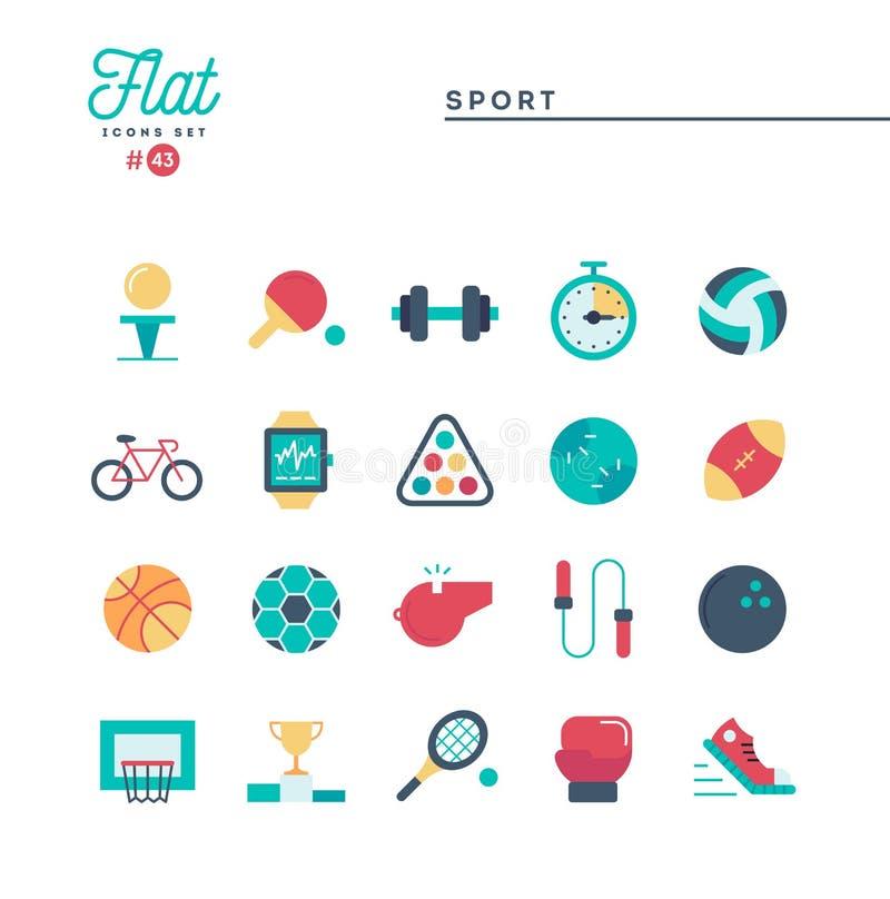 Gli sport, la ricreazione, risolvono, attrezzature e più, icone piane messe illustrazione di stock
