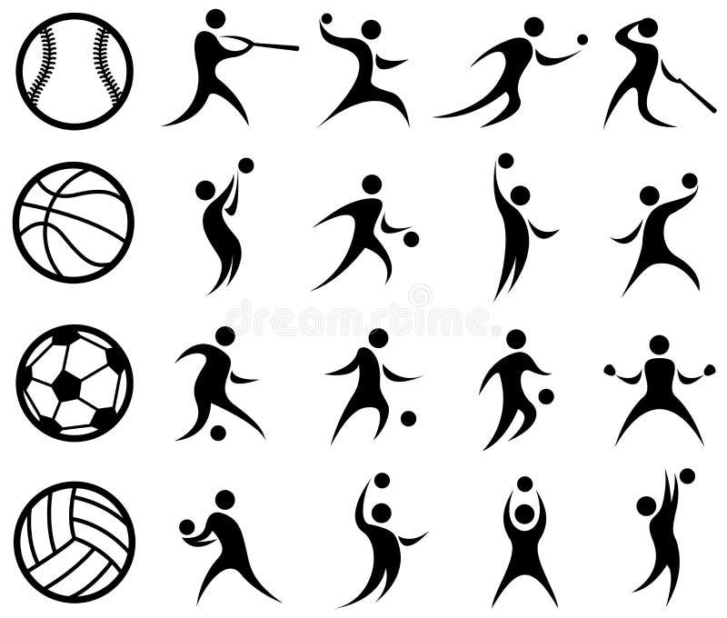 Gli sport profilano, pallacanestro, baseball, calcio, pallavolo illustrazione vettoriale