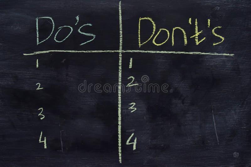 """Gli st di Don o di Do """"scritti con il concetto del gesso di colore sulla lavagna immagini stock"""