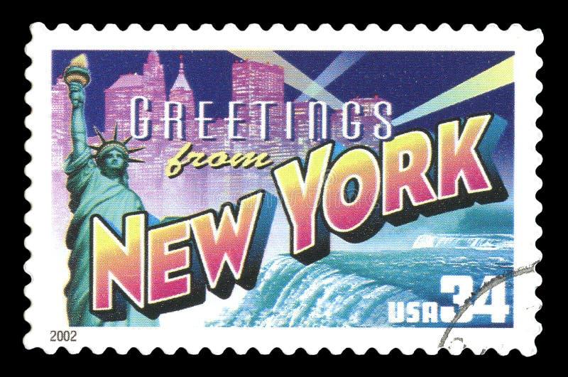 Gli stati dell'America hanno annullato il francobollo che mostra i saluti da New York CIT fotografia stock
