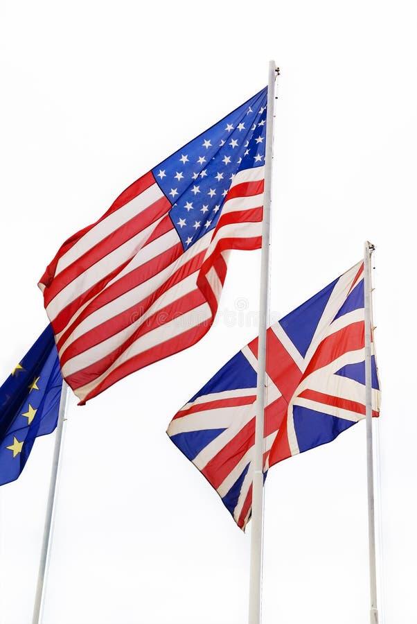 Gli Stati Uniti, Britannici, bandierine dell'Ue fotografia stock