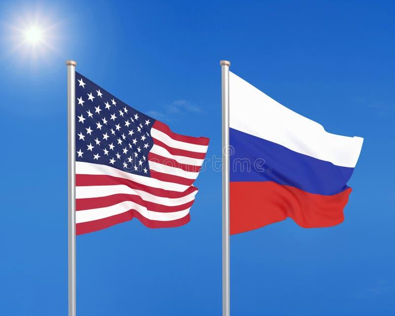 Gli Stati Uniti d'America contro la Russia Bandiere seriche colorate spesse dell'America e della Russia illustrazione 3D sul fond royalty illustrazione gratis