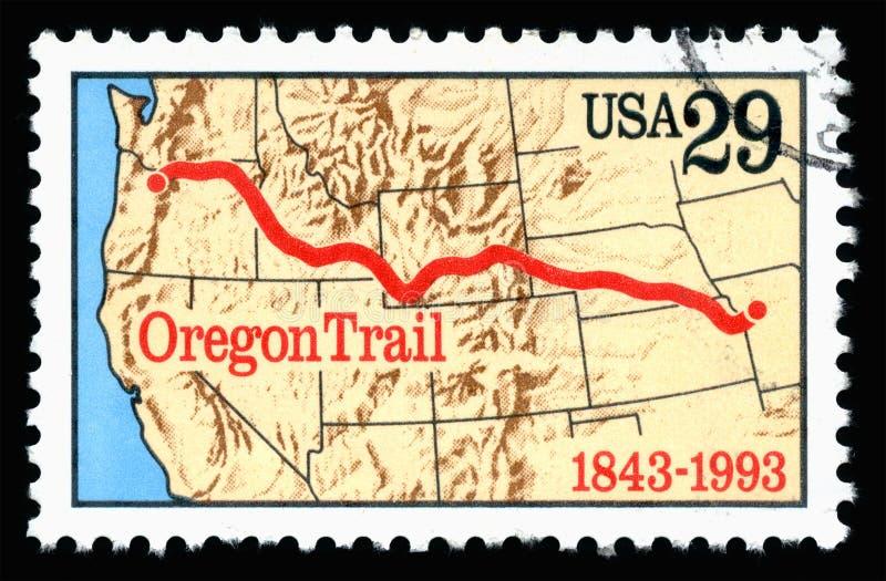 Gli Stati Uniti d'America hanno annullato il francobollo che mostra un'immagine dell'anniversario della traccia dell'Oregon immagine stock