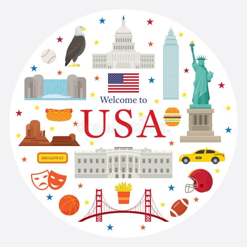 Gli Stati Uniti d'America, U.S.A., oggetti identificano illustrazione vettoriale