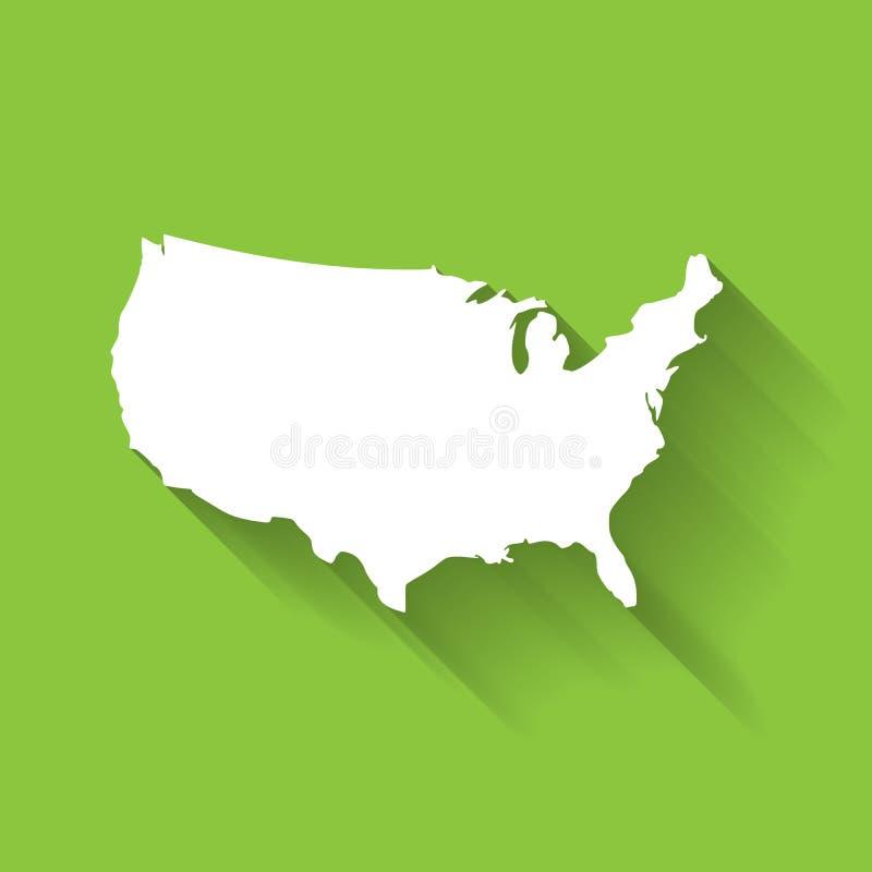 Gli Stati Uniti d'America, U.S.A., siluetta bianca della mappa con effetto ombra lungo di pendenza su fondo verde illustrazione di stock