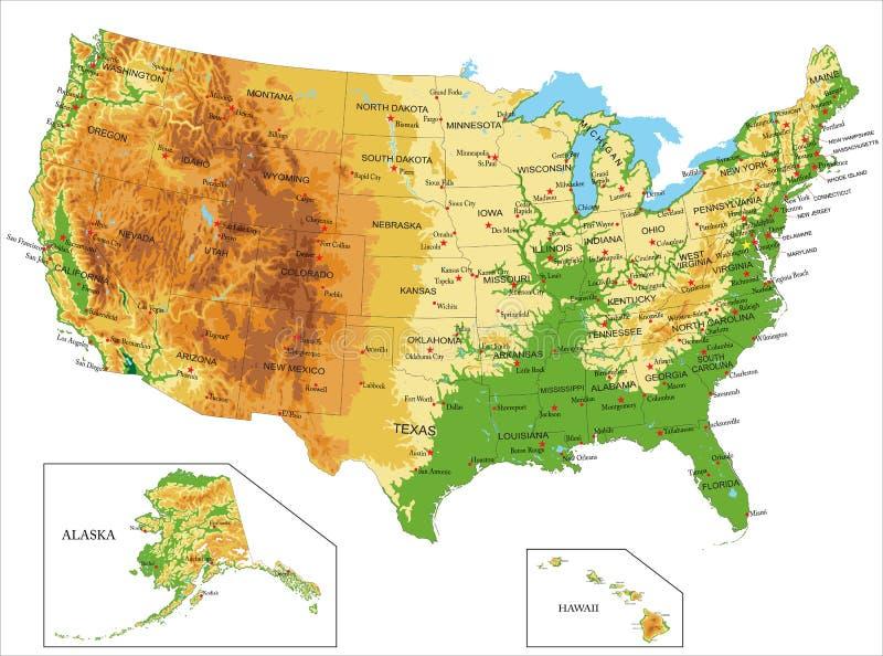 Gli Stati Uniti della mappa America-fisica illustrazione di stock
