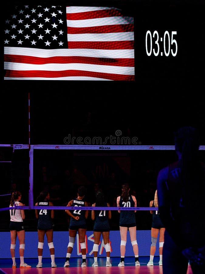 Volleyball Intenationals Nations League Women - Dominican Republic Vs United States. Gli stati uniti durante the anthem  during Nations League Women - Dominican stock photo