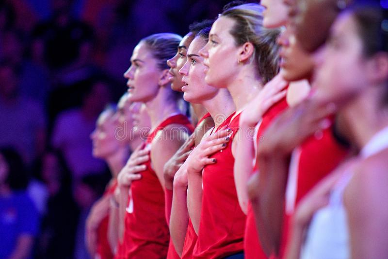 Volleyball Intenationals Nations League Women - United States (usa) Vs Serbia. Gli stati uniti durante the the national anthem americano  during Nations League stock photography