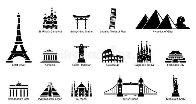 Gli Stati Uniti - insieme dell'icona del punto di riferimento illustrazione di stock