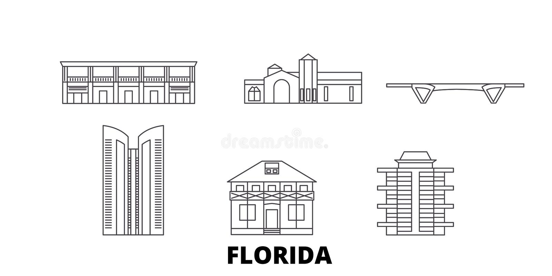 Gli Stati Uniti, linea insieme del Fort Lauderdale dell'orizzonte di viaggio Gli Stati Uniti, illustrazione di vettore della citt royalty illustrazione gratis