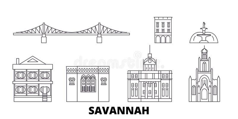 Gli Stati Uniti, linea insieme della savana dell'orizzonte di viaggio Gli Stati Uniti, illustrazione di vettore della città del p illustrazione vettoriale