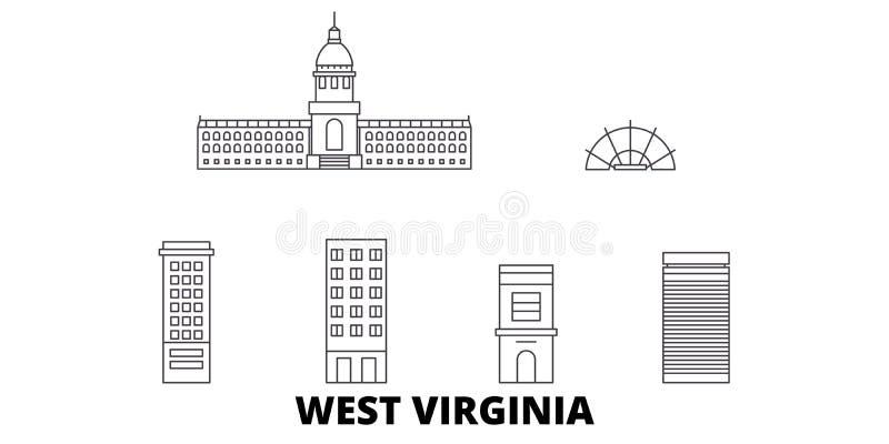 Gli Stati Uniti, linea insieme di Charleston West Virginia dell'orizzonte di viaggio Gli Stati Uniti, città del profilo di Charle illustrazione vettoriale