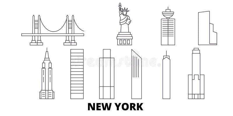 Gli Stati Uniti, linea insieme di New York dell'orizzonte di viaggio Gli Stati Uniti, illustrazione di vettore della città del pr illustrazione di stock