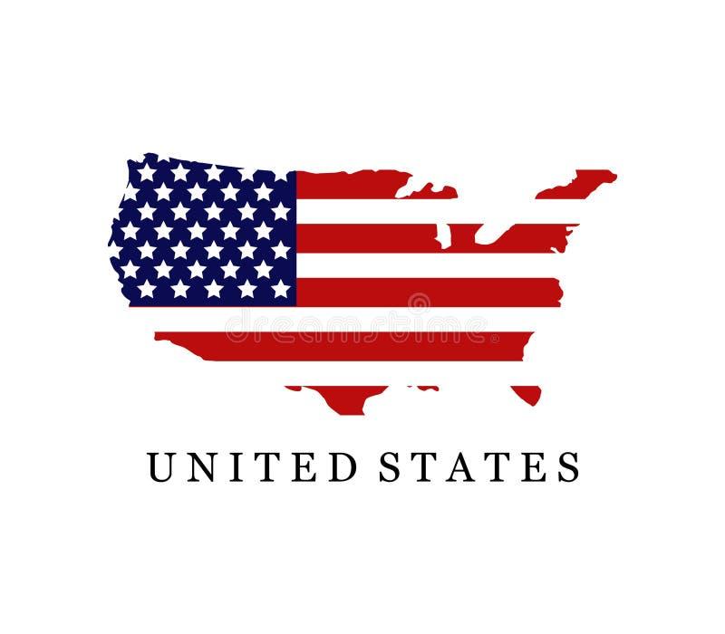 Gli Stati Uniti mappano con la bandierina royalty illustrazione gratis