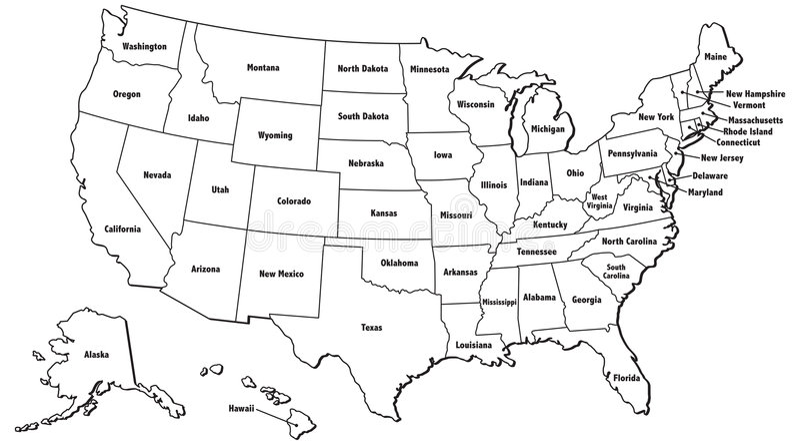 Gli Stati Uniti mappano il profilo illustrazione vettoriale