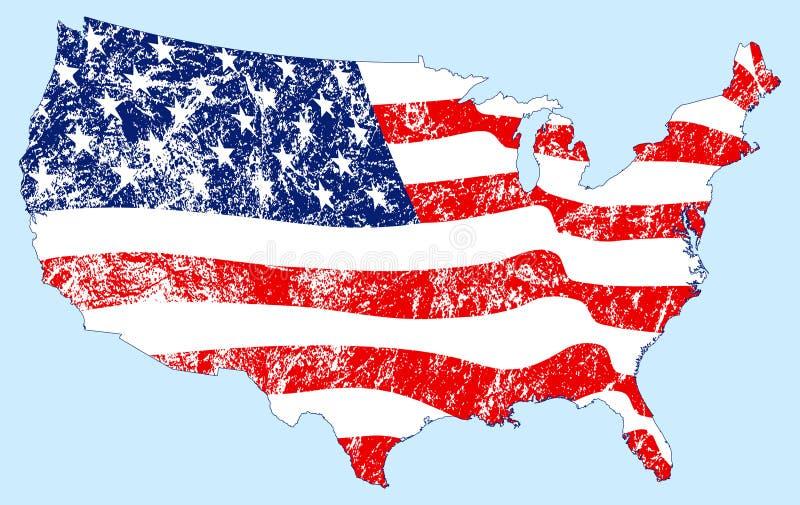 Gli Stati Uniti mappano la bandierina con Grunge illustrazione vettoriale