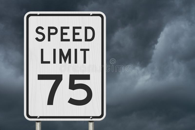 Gli Stati Uniti segno limite di velocità di 75 mph fotografie stock libere da diritti