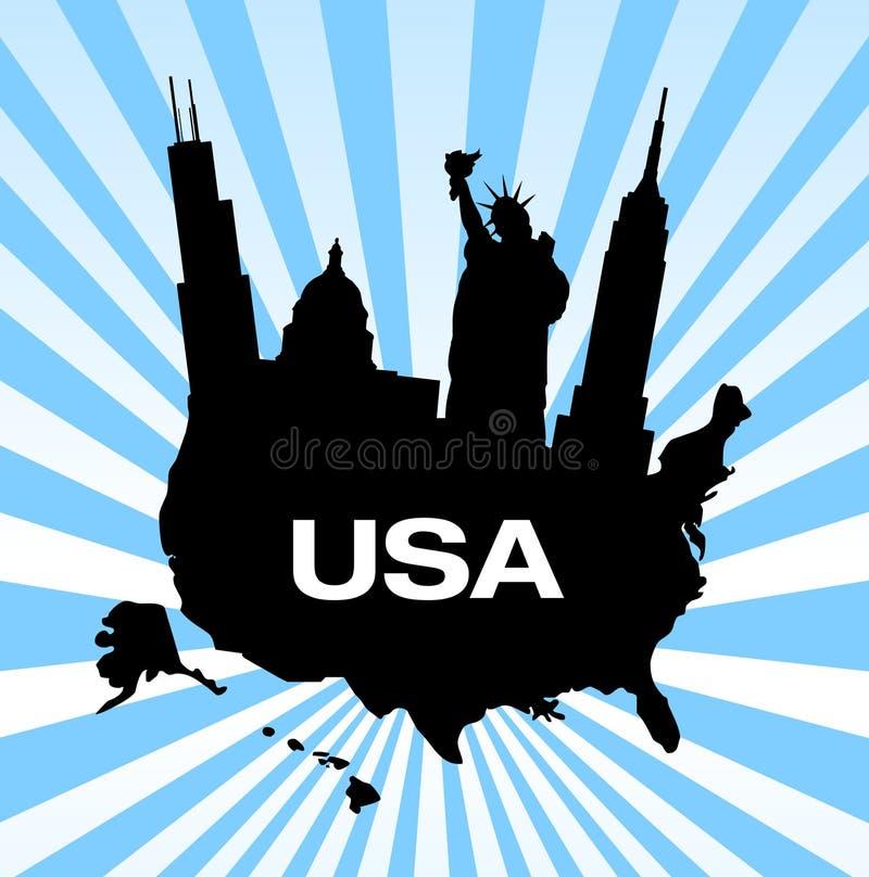 Gli Stati Uniti viaggiano limiti illustrazione vettoriale